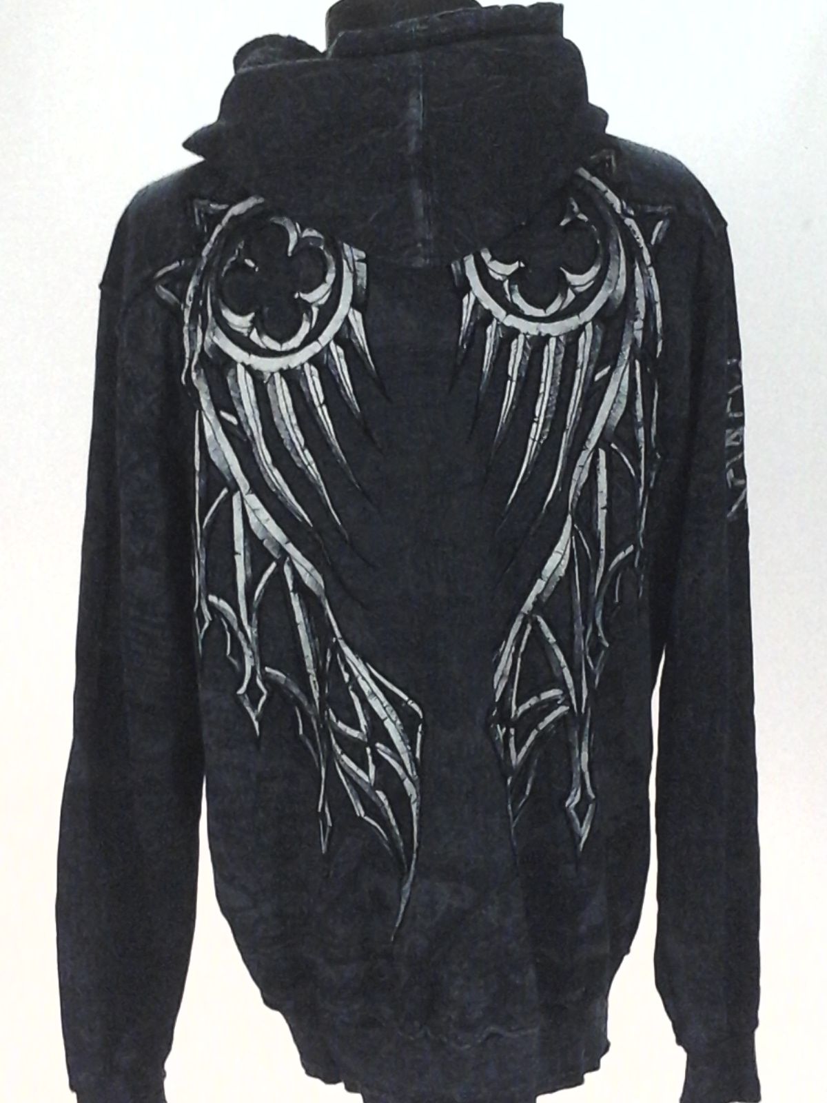 6ab119a610 AFFLICTION Hoodie Jacket Black Gray Angel Wings Distressed Zip USA Made  Men s XL