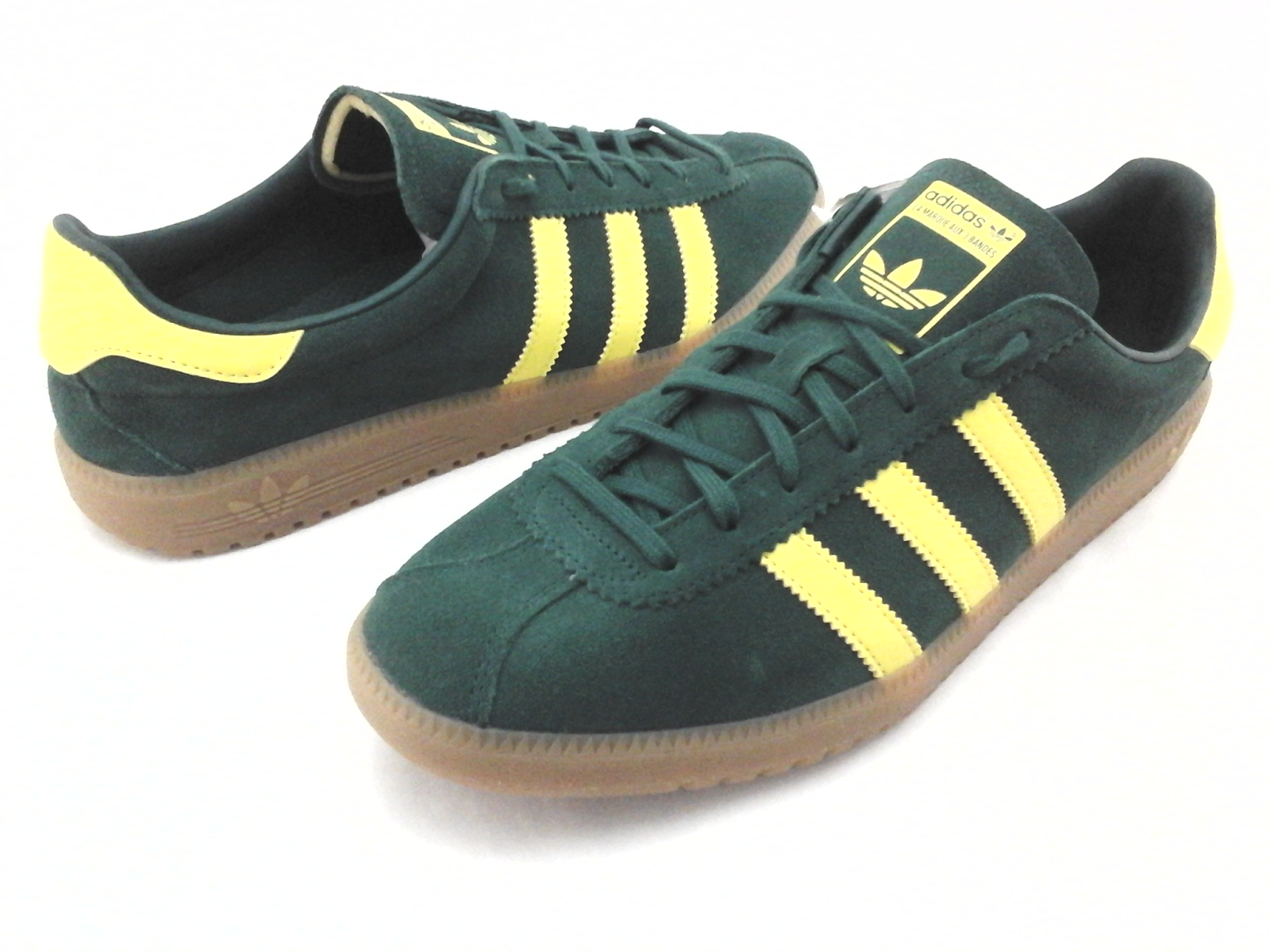 16a0d56553 Adidas BERMUDA Shoes Green Suede Yellow Gum Sole Retro B41472 Men's ...