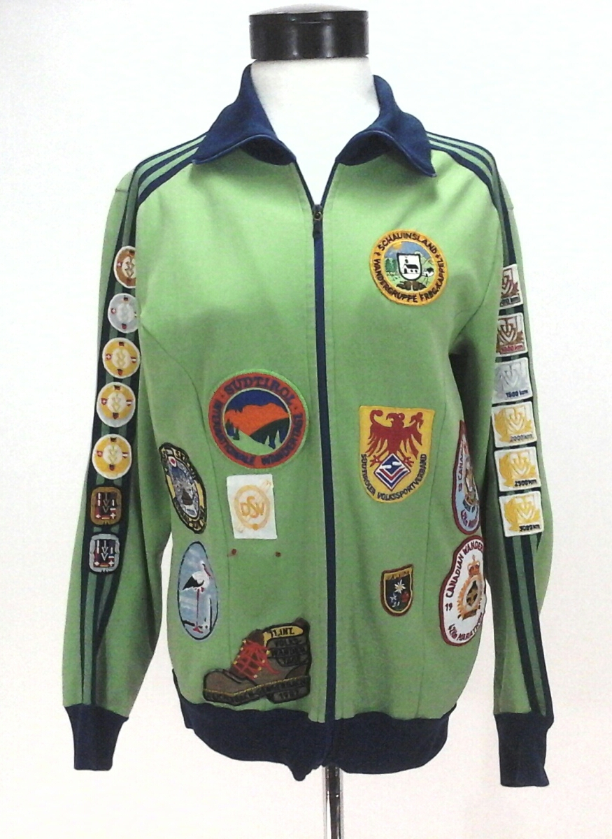ADIDAS Track Jacket Custom GERMANY Patches Green Blue Vintage Zip Women s M  RARE dc8d034c80