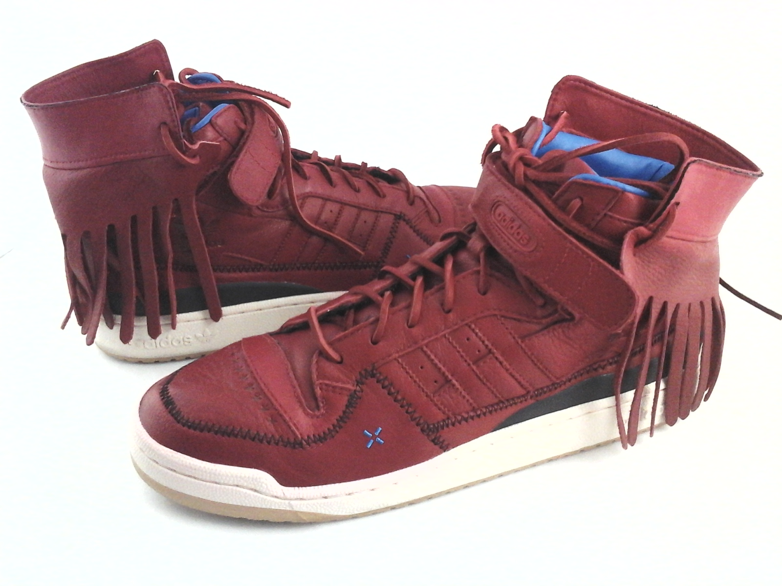 new concept 96ec6 db2eb ADIDAS Shoes Mid High Leather Fringe Red Sneakers G48896 Men s US 11 EU 45  1 3
