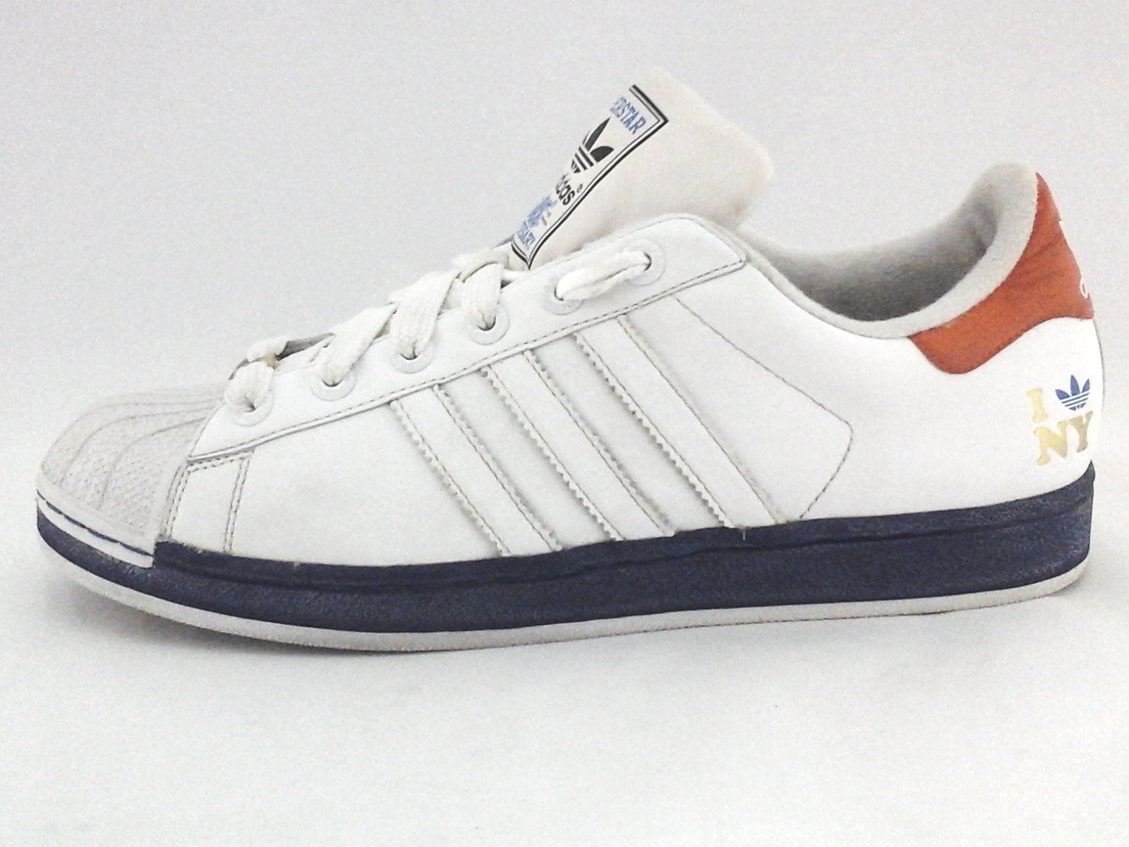 0e49a8efd3ba ADIDAS Superstar New York I Love NY White Blue Sneakers Men s US 11  45 1 3  RARE