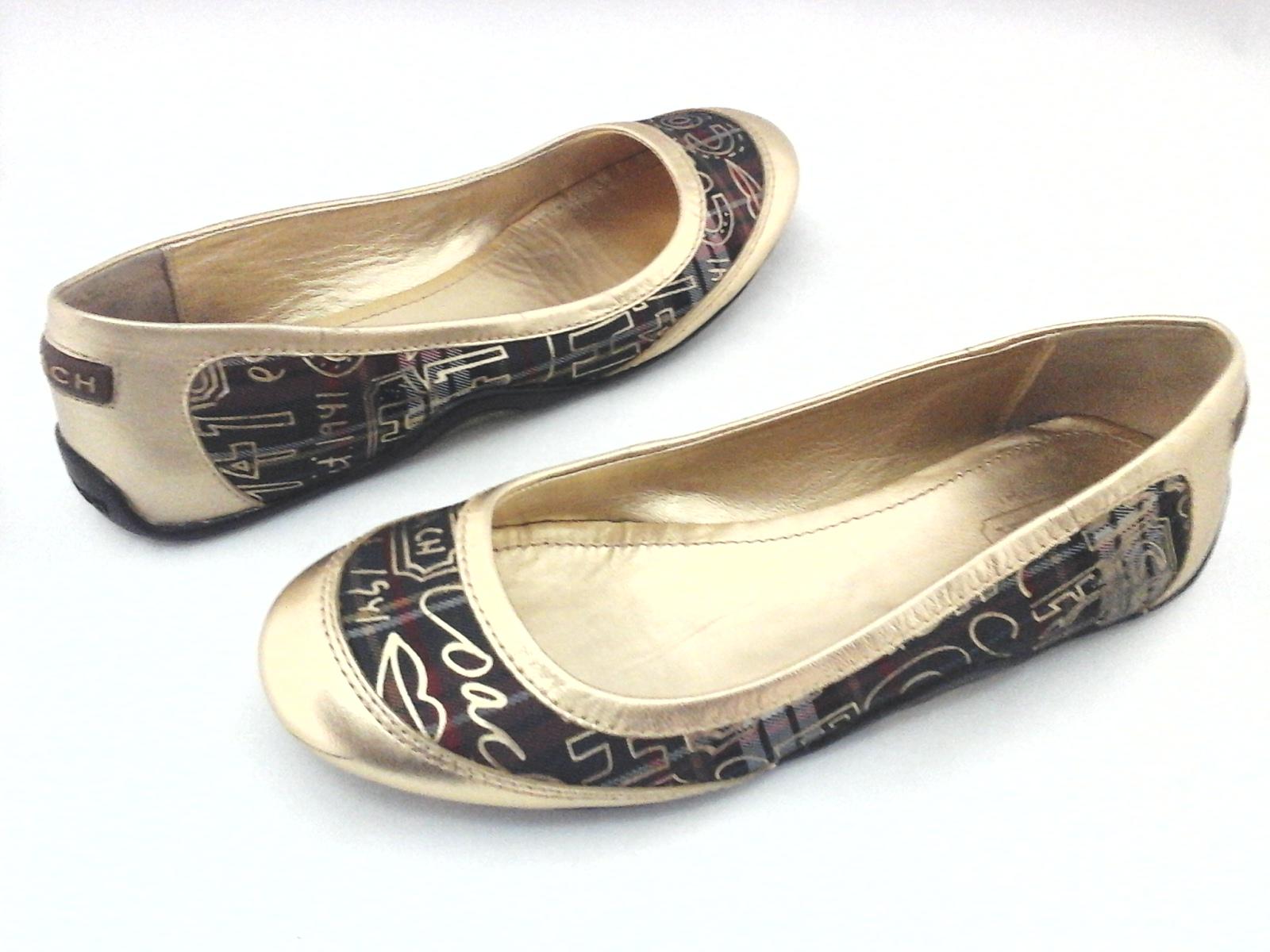 638e3df5fc0 COACH Ballet Flats Gold Tartan Plain True Graffiti Logo Shoes US 6.5 EU 36.5