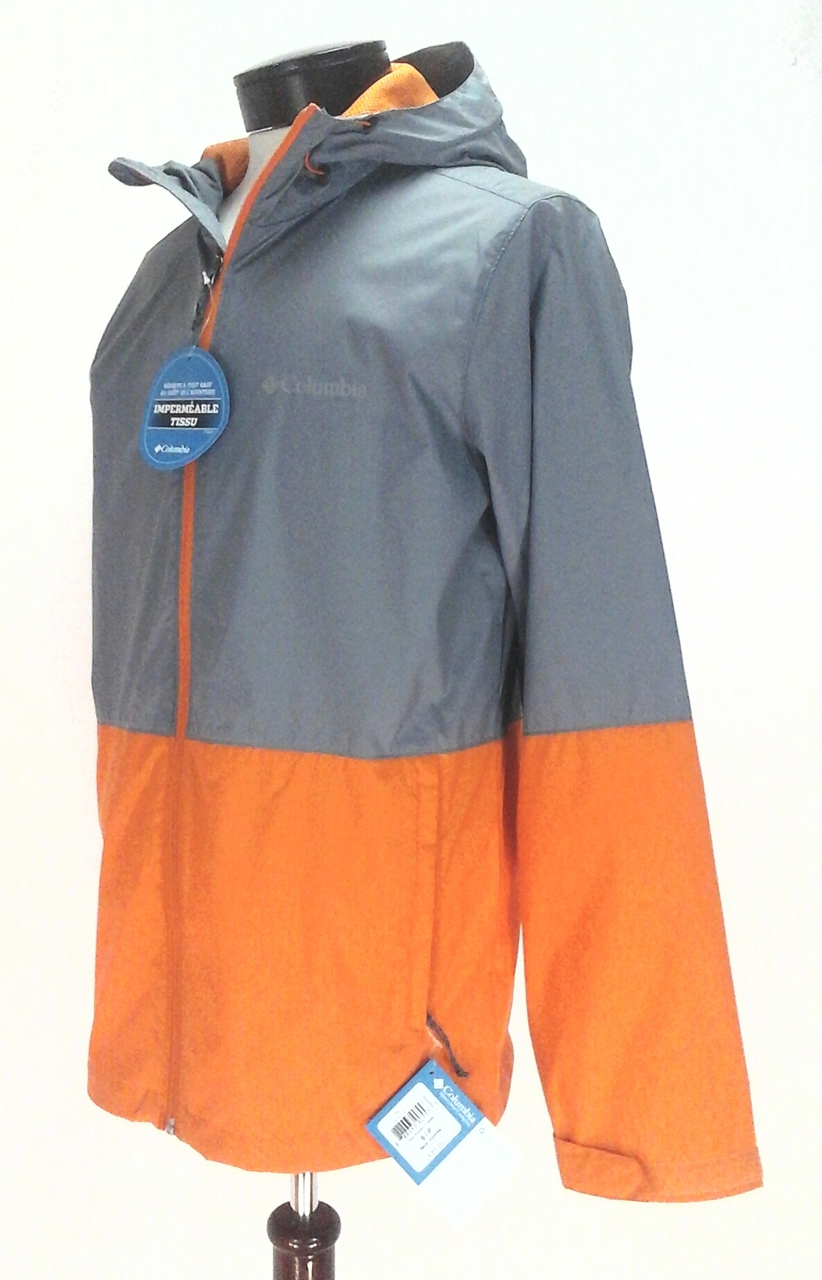 factory outlets best site how to find Details about COLUMBIA Rain Jacket Roan Mountain Hooded WATERPROOF  Gray/Orange Mens S $75