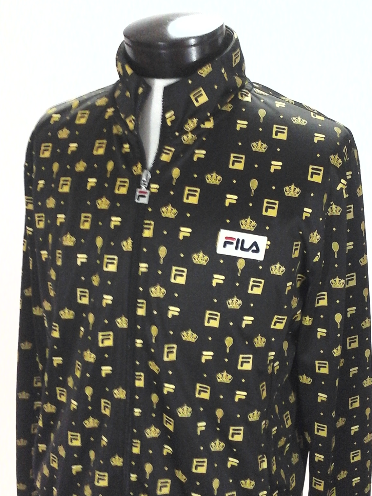85848aec2487 FILA Track Jacket for UO Brown/Gold Tennis Racket/Crown Print Zip Up Mens L  RARE