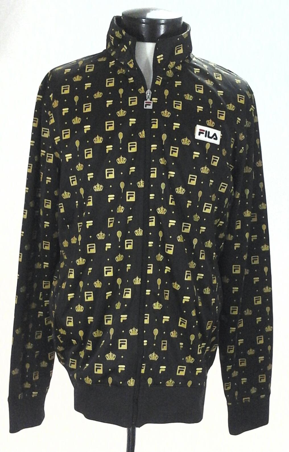 6ee4eb000af FILA Track Jacket for UO Brown/Gold Tennis Racket/Crown Print Zip Up Mens L  RARE
