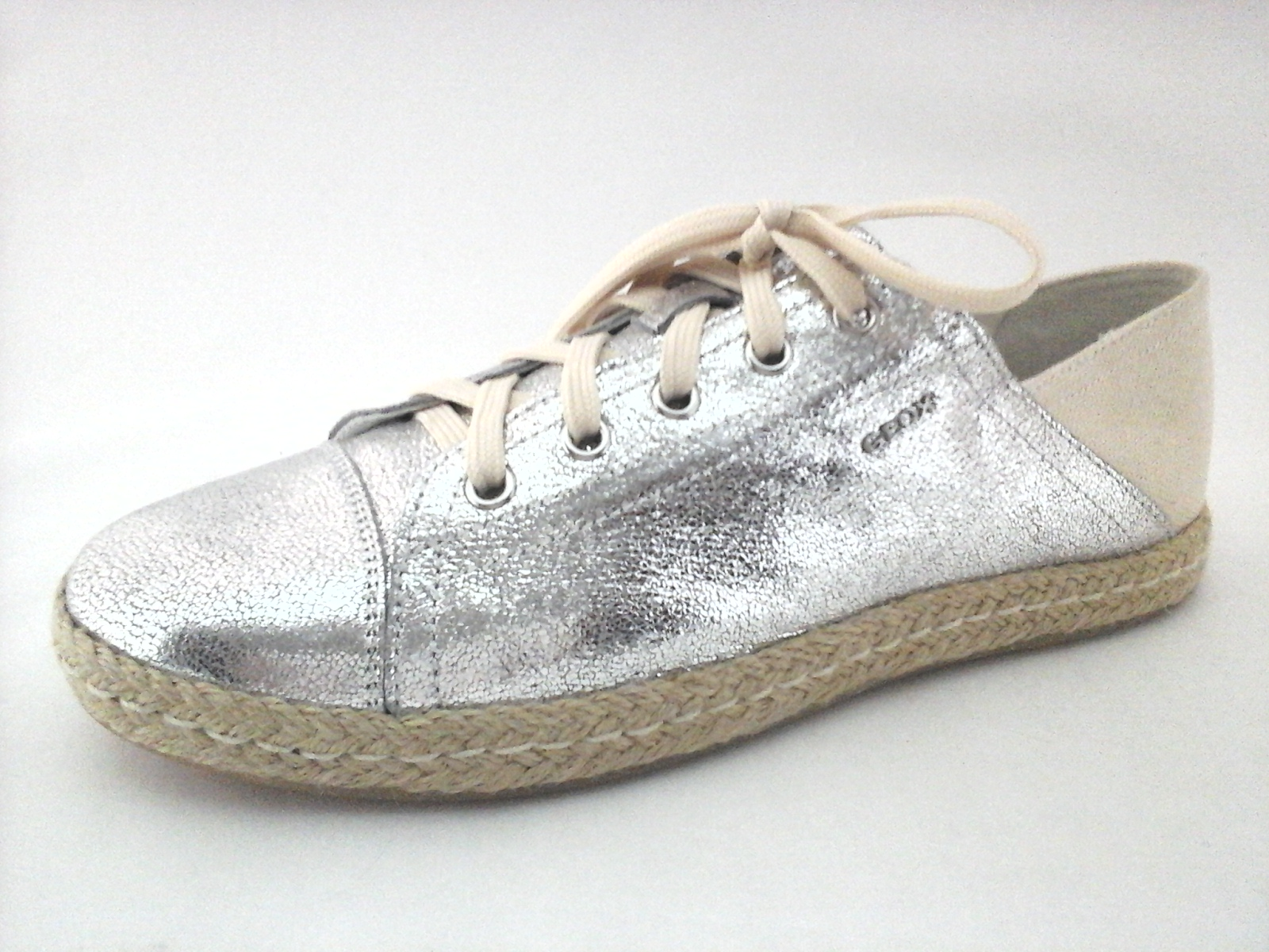 half off 7a234 816be Details about GEOX RESPIRA Shoes Silver Leather/Canvas Sneaker ESPADRILLES  Flats US 10/40 $195