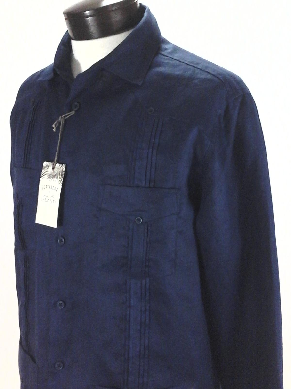 $115 TASSO ELBA Mens FIT BLUE LINEN SHORT-SLEEVE BUTTON POCKET GUAYABERA SHIRT M