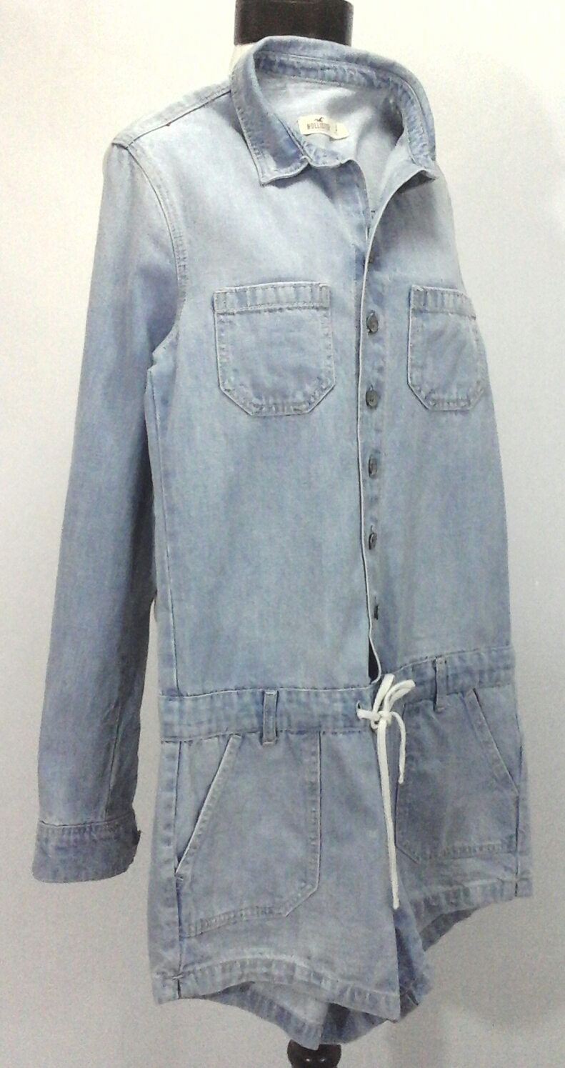 afc4576fc5c39 HOLLISTER Denim Romper L/S Top and Shorts Light Blue Jean 1 Piece Women's S  $79