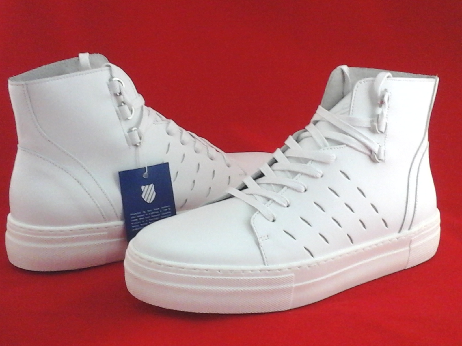 b219d3567d062 K-SWISS High Top Shoes White Leather Basketball Sneakers Women's US ...