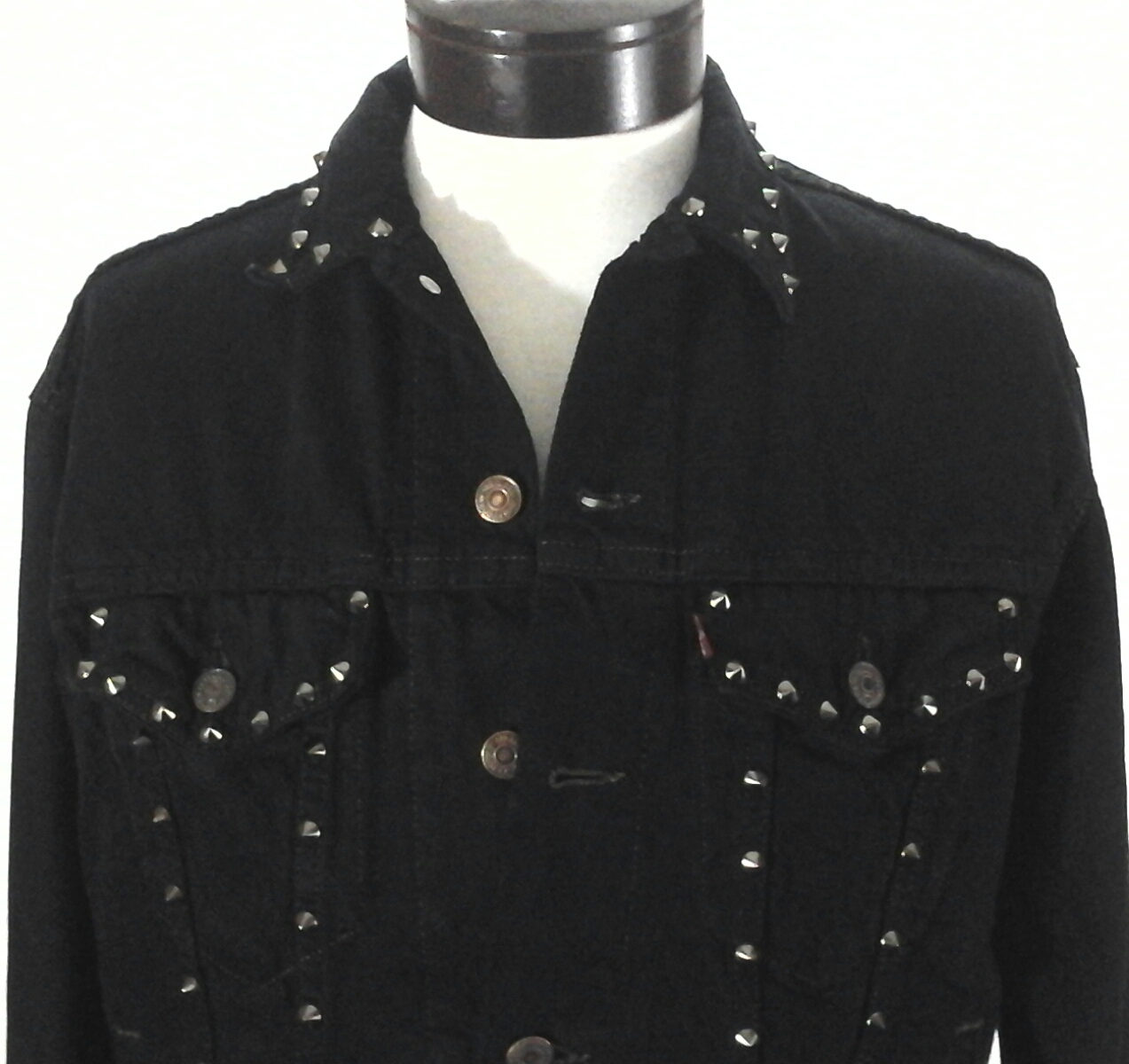da0e70f951 Details about LEVI S Denim Jacket Trucker Studs Punk Life Is A Game Hard  Eight Black L fits M