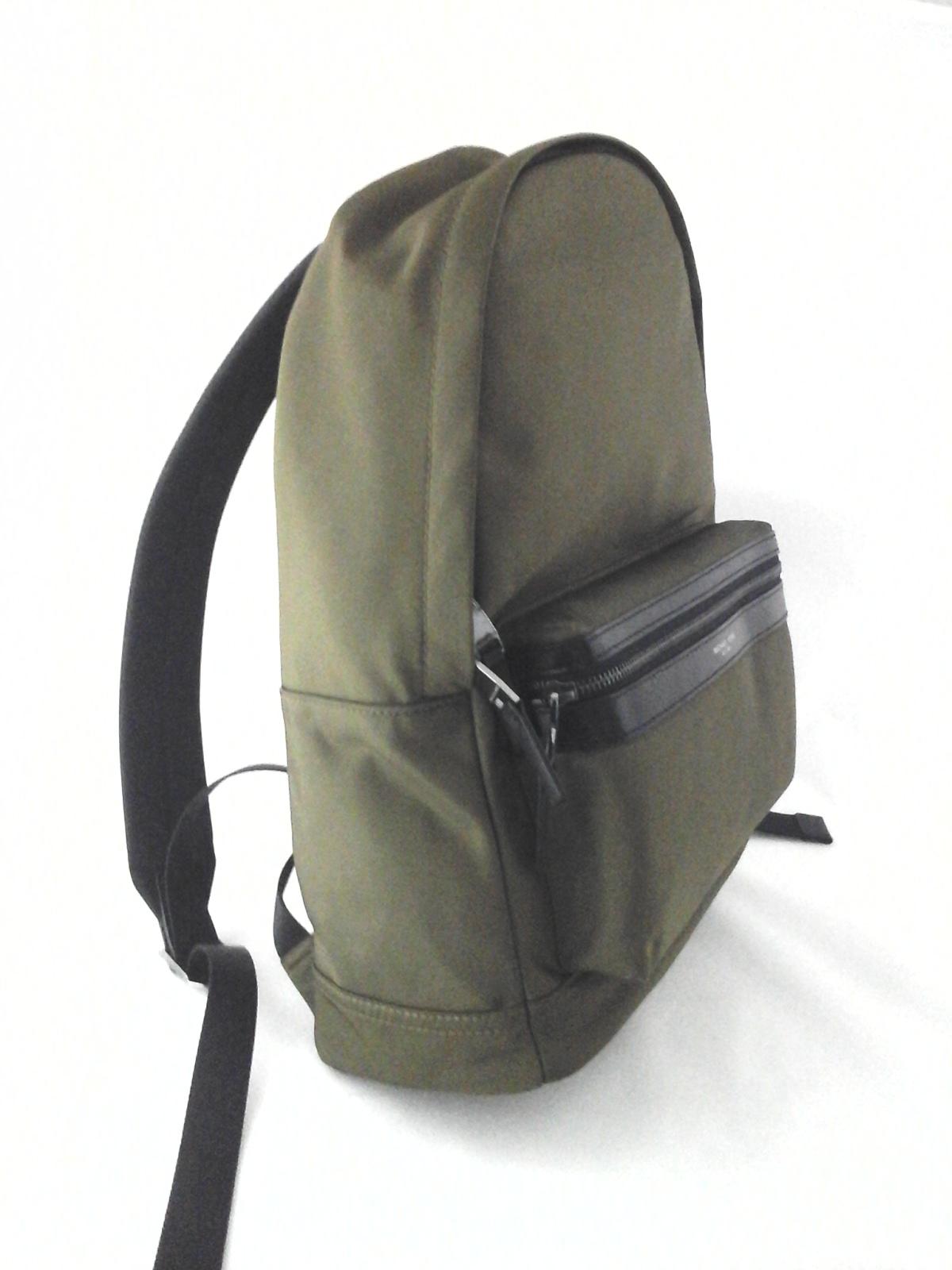 1c70bcd35fc5 MICHAEL KORS Backpack Kent MK Military Olive Green/Black Leather Trim Bag  $198