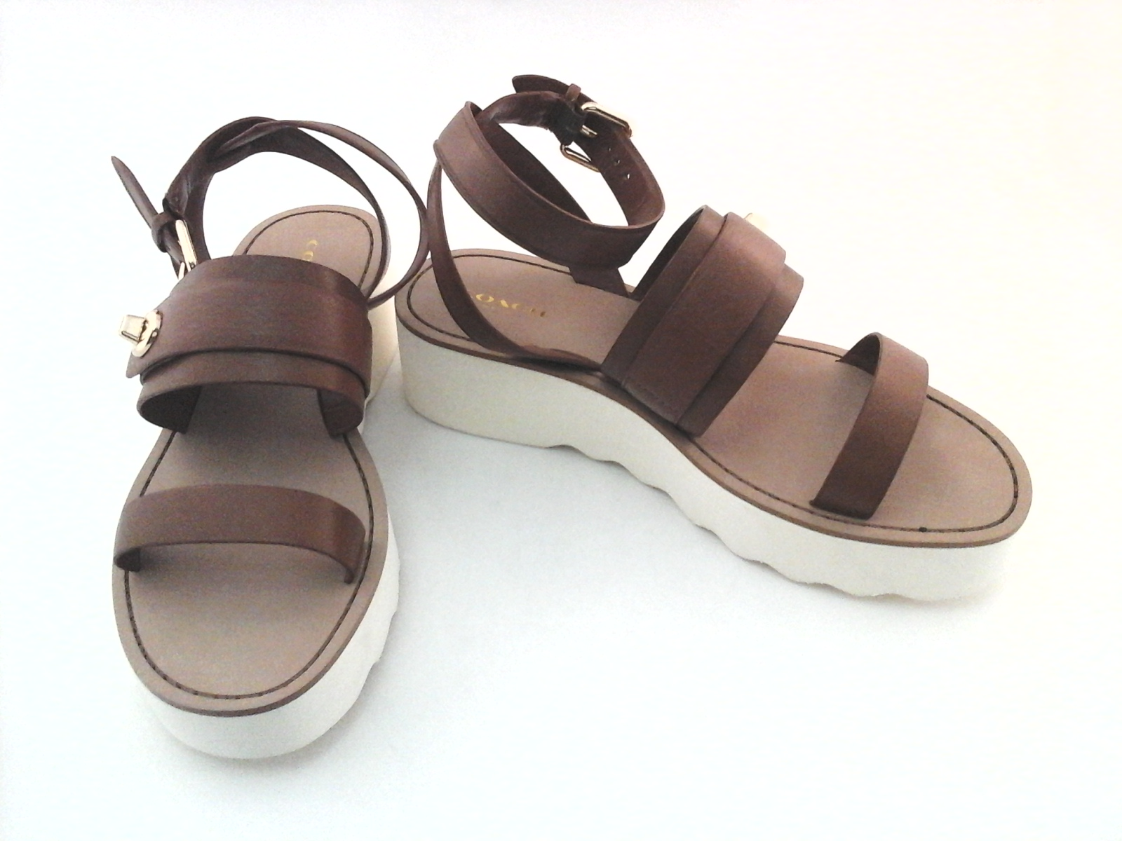 9deaf24f5b5c1e COACH Sandals Platt Platform Ankle Strap Strappy Shoes Saddle Brown A00958   160