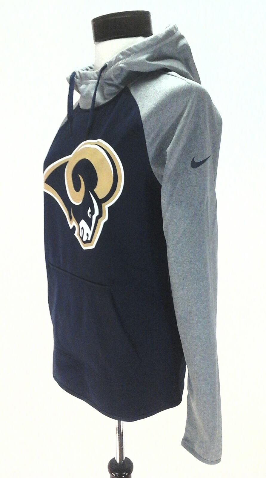 NIKE Rams Hoodie Blue Gray Pullover Active Top THERMA-FIT Shirt Women s S   75 132d68d78a