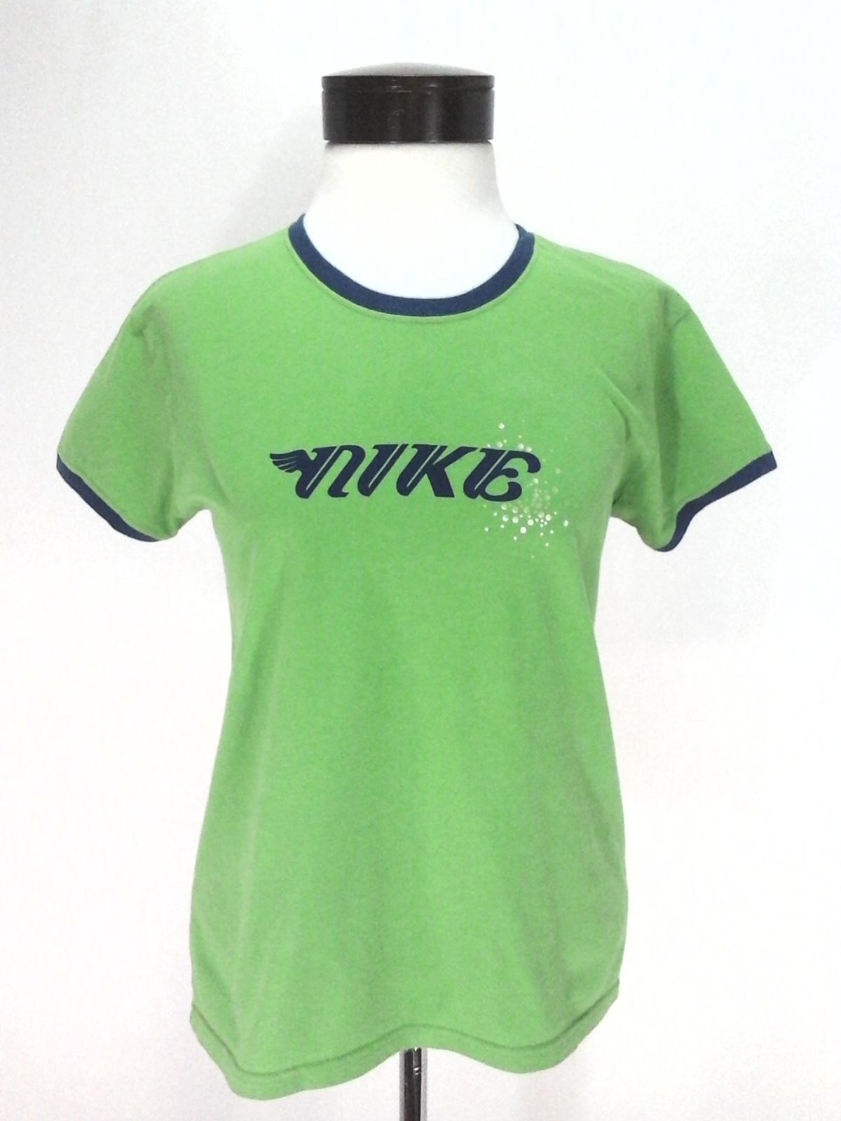 6fe28011 NIKE T-Shirt Vintage 90's Ringer Cotton Athletic Top Green/Blue Logo  Women's M