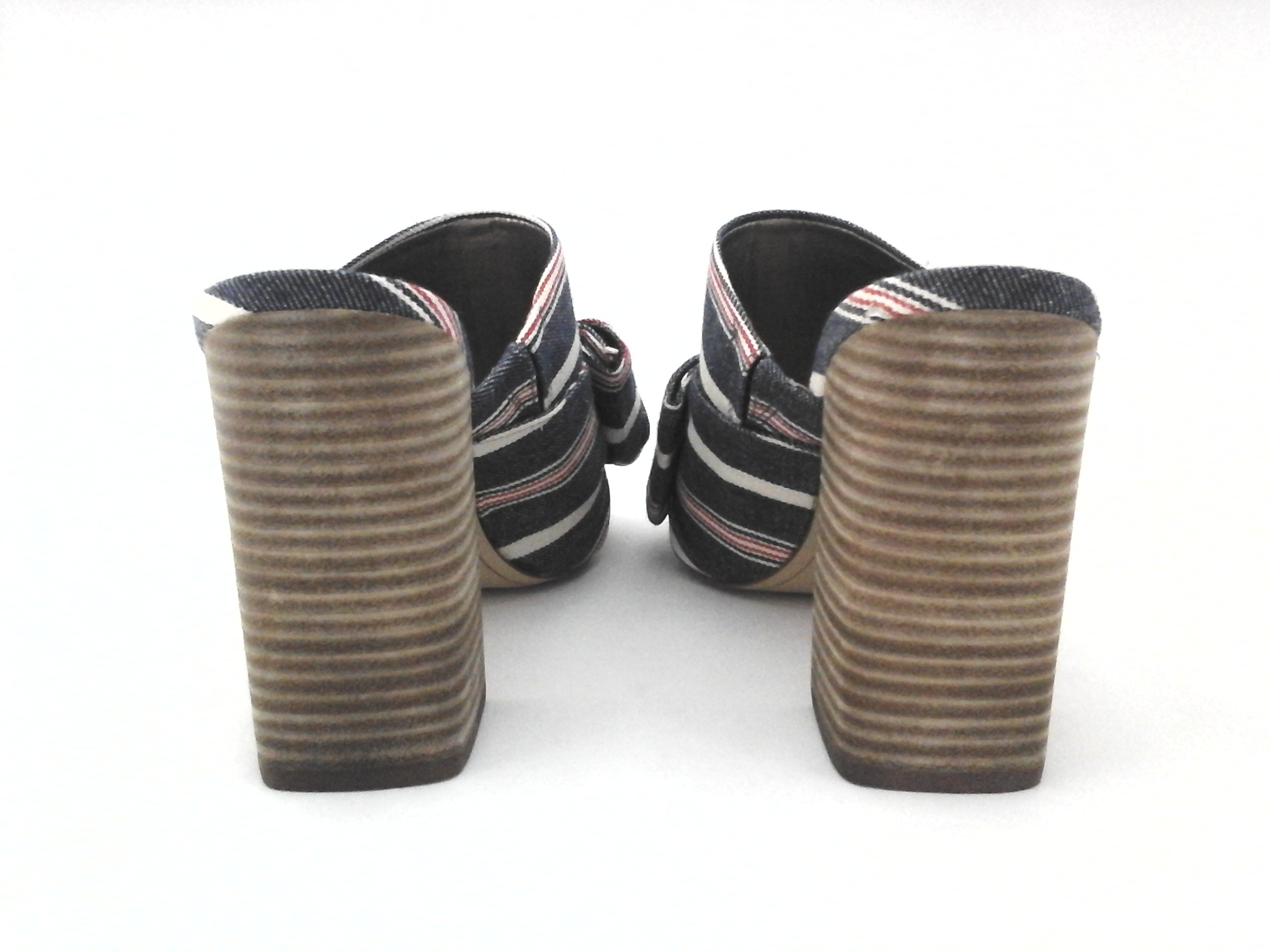 92cd97d66 SAM EDELMAN Sandals YUMI Slip on Heels Denim Blue Red Stripe Bow US 7 37.5   120