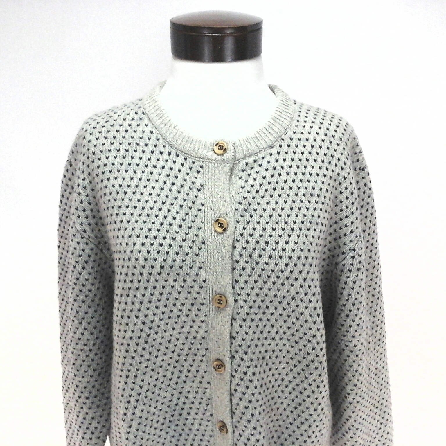 2ac58f4fe3 WOOLRICH Cardigan Sweater Top Cream Blue Geometric Button Up Womens WOOL L   119