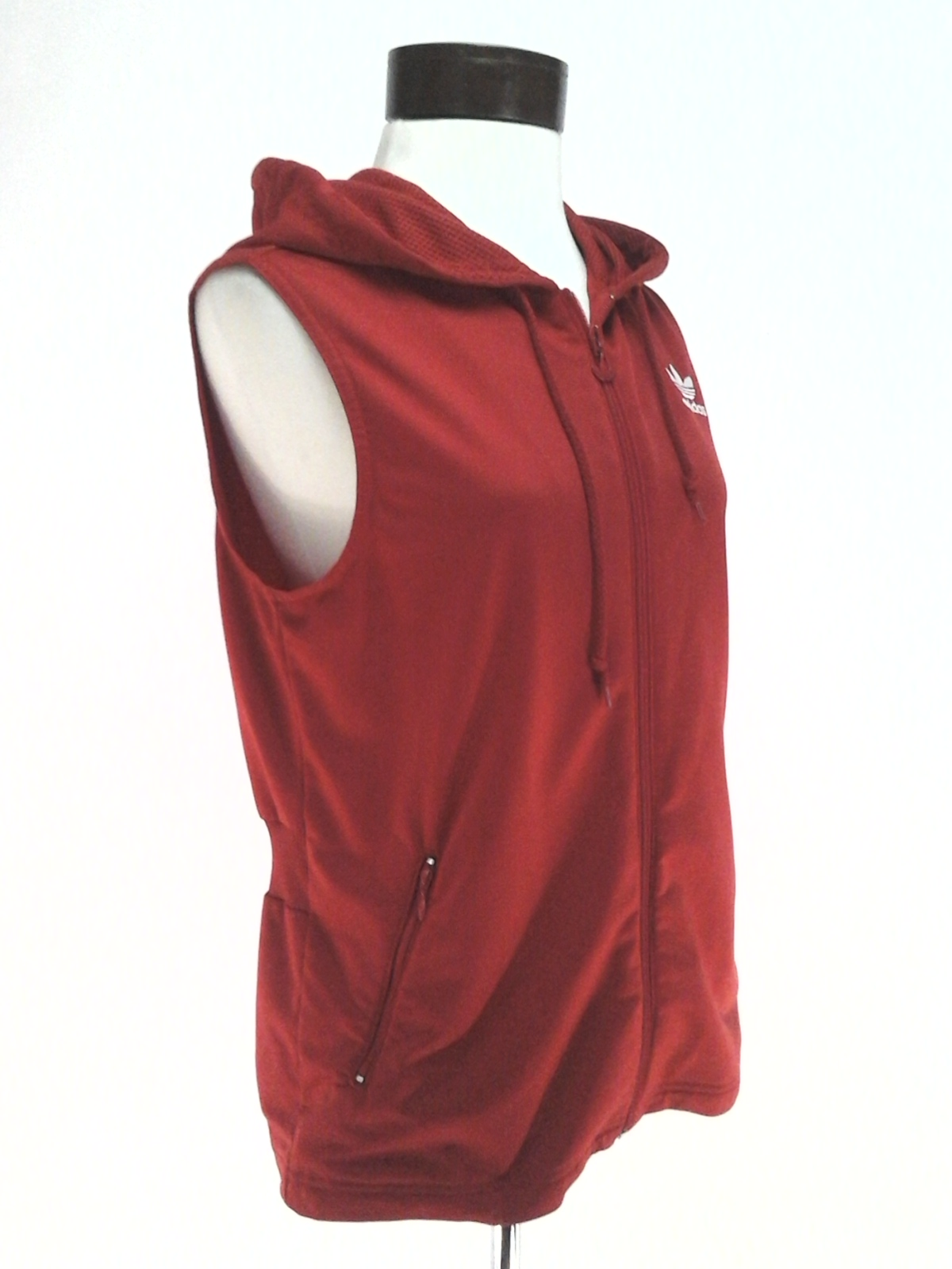 32a73e579926 Details about ADIDAS Sleeveless Hoodie Jacket Red Zip Vest Embroidered  Trefoil Women s M RARE