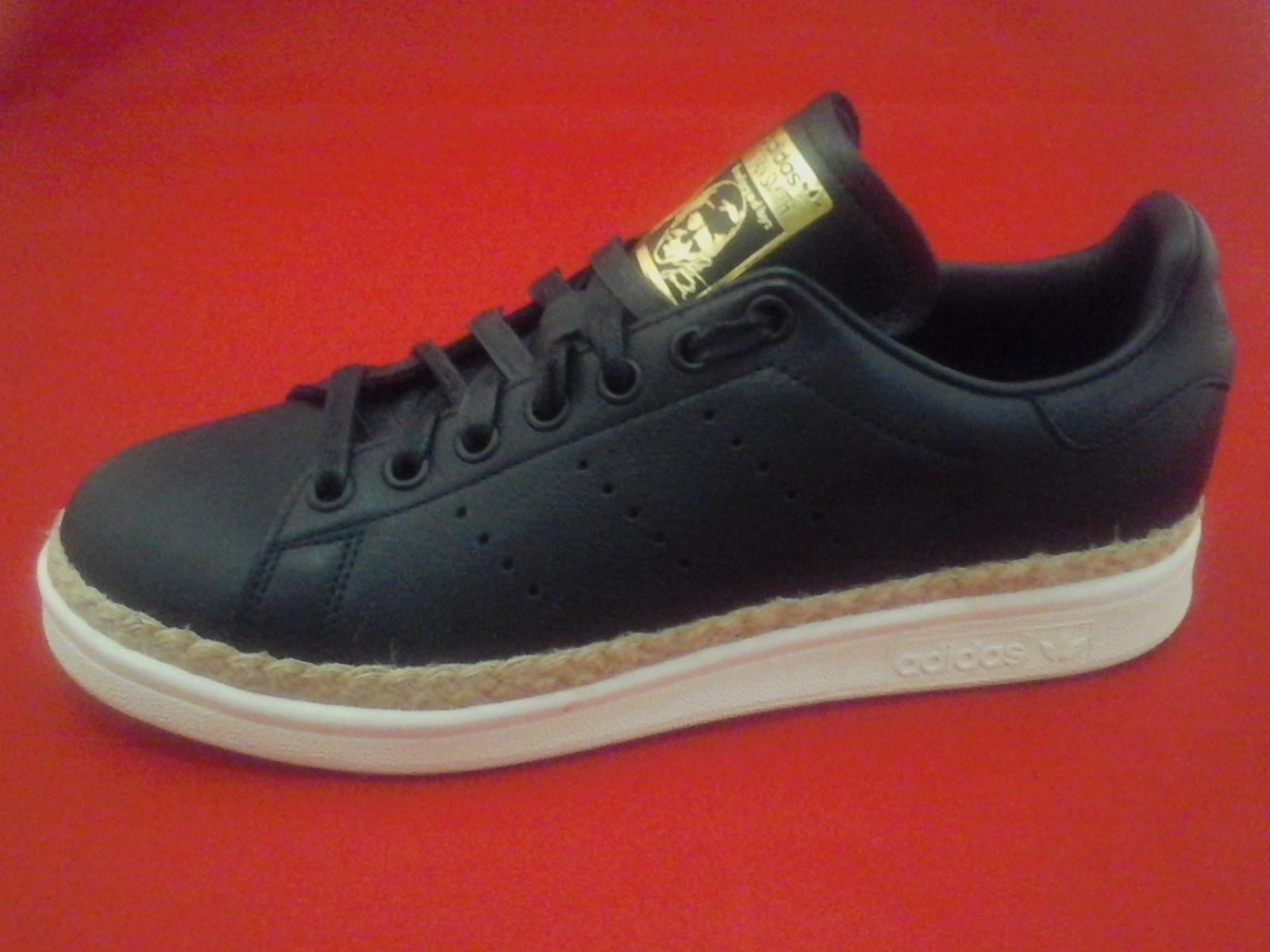 9a5cff10722 ADIDAS Stan Smith Shoes New Bold W Espadrilles Black Sneakers DA9536 Women s