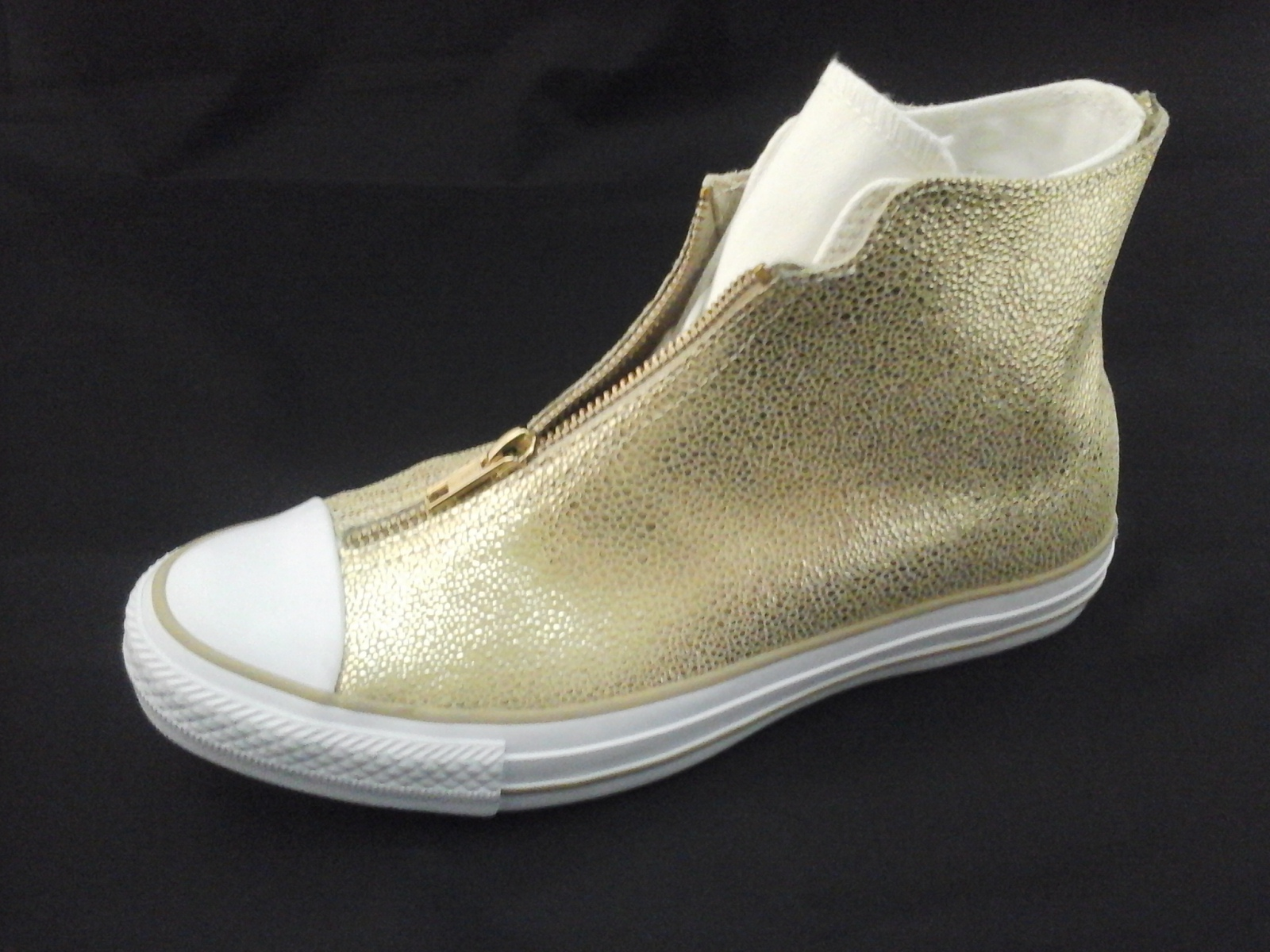 60fbcb806f00 CONVERSE Shoes Zip Up w Laces Gold Metallic High Top Womens US 7.5  38 New  RARE