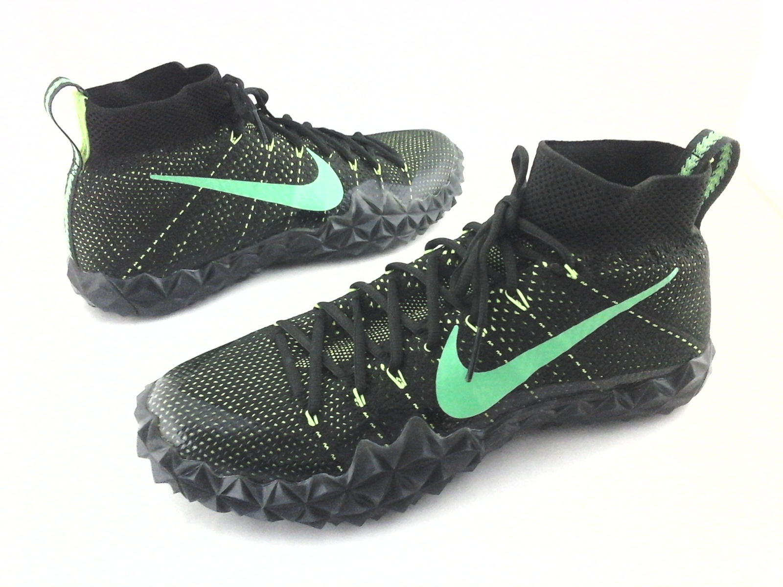 watch 4775c de79b NIKE Alpha Sensory Turf Football Cleats Knit 854312-337 Black Green US  12 46 New