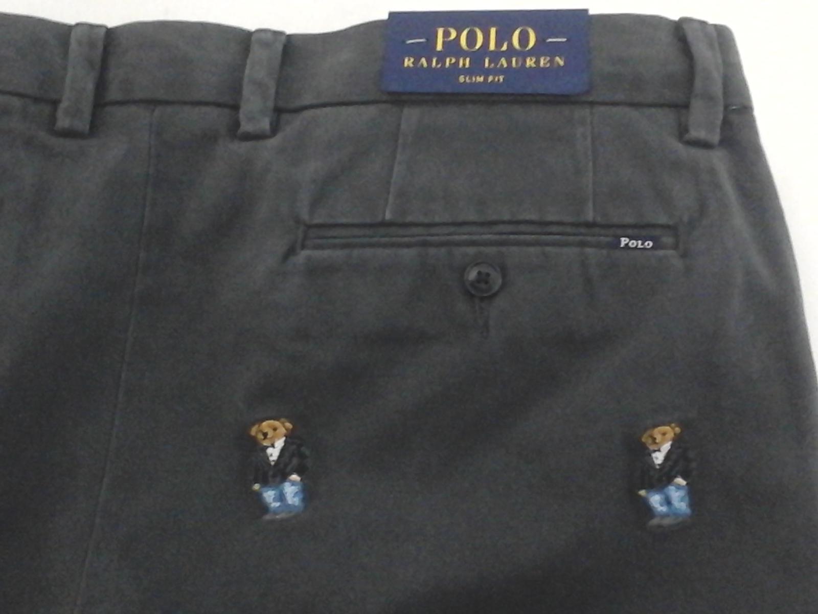 Polo RALPH LAUREN Polo Bear Chino Pants Khaki Slim Fit Embroidered Gray Mens New