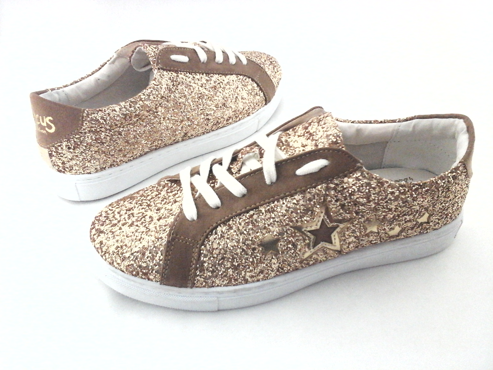 cd2eab78e SAM EDELMAN CIRCUS Sneakers Vanellope-1 Gold Glitter w Stars US 8 EU 38 New