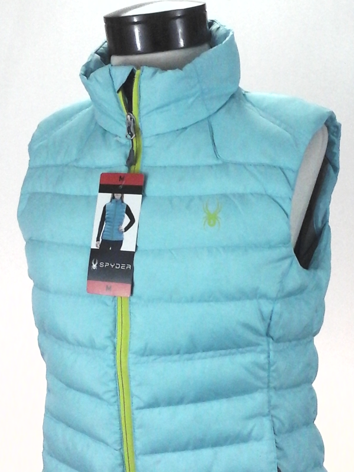 1ad5bd93fb Details about SPYDER Puffer Vest Snowboard Ski Winter Prymo Down Blue Logo  1143937 Womens New