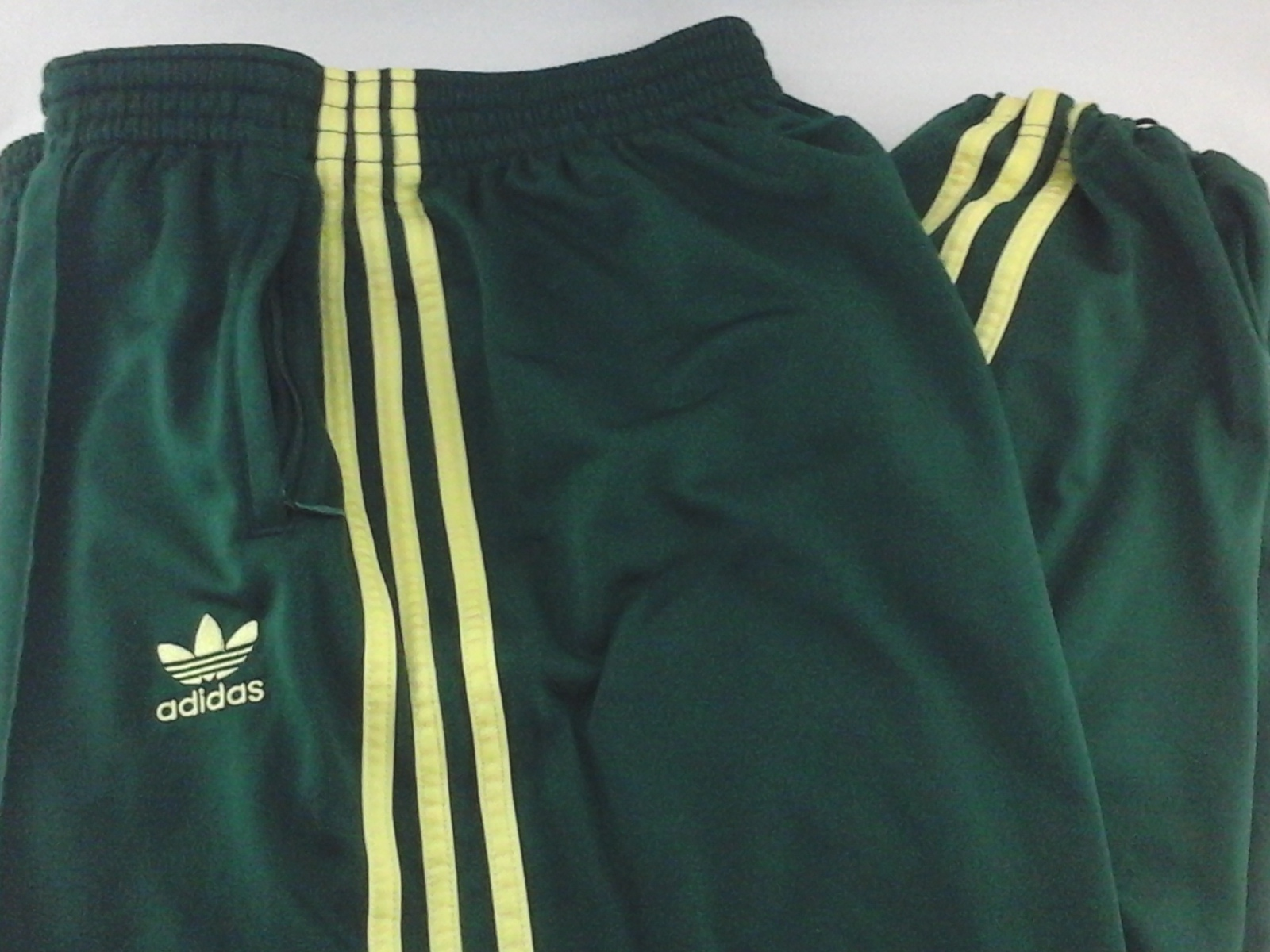 Details about ADIDAS Track Pants Retro Green Yellow Stripes Embroidered Trefoil Mens L RARE