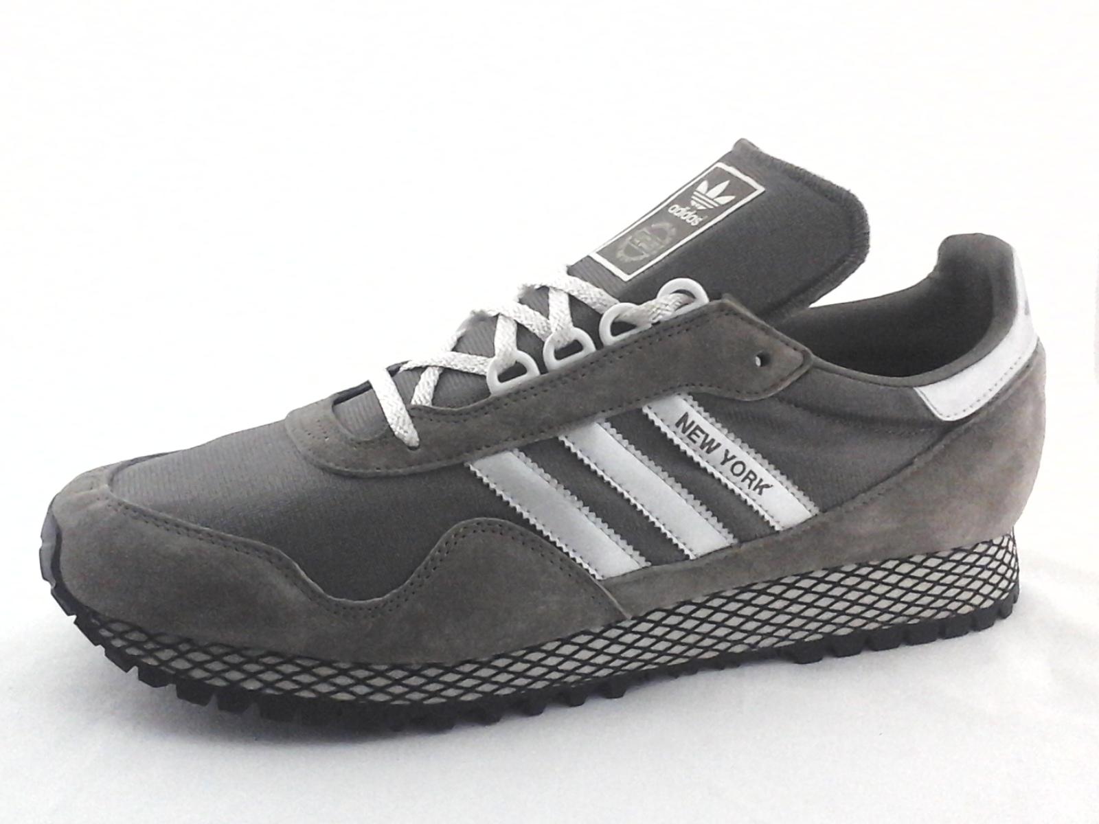 brillo perrito Lucro  Adidas NEW YORK Shoes Gray Suede Silver Metallic Retro BY9338 Mens New * |  eBay